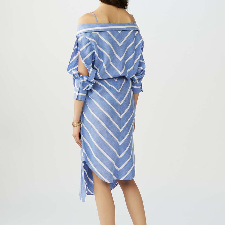 Striped cold-shoulder shirt dress : See all color Blue