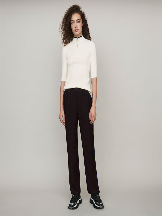 Flowing satin jacquard pants : Trousers & Jeans color Black