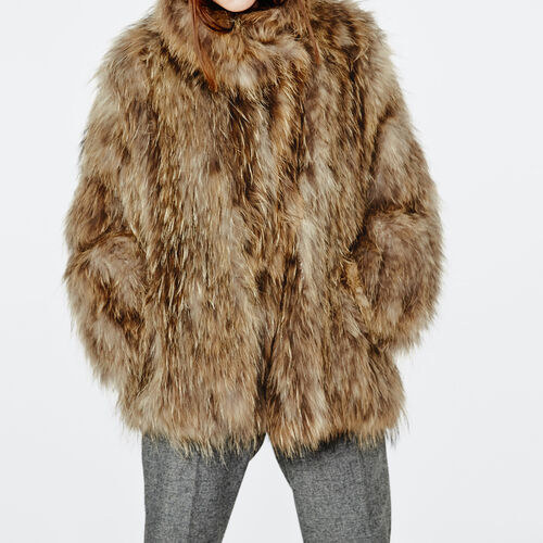 Oversize raccoon knitted fur coat : Coats color Natural