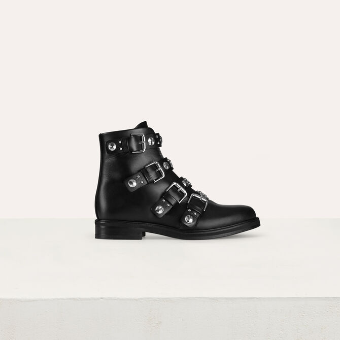 Multi-straps leather booties - Accessories - MAJE