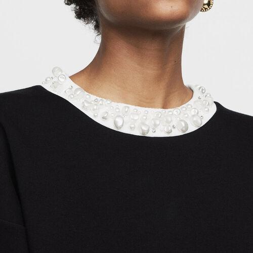 Fleece sweatshirt with pearls : T-Shirts color Black 210