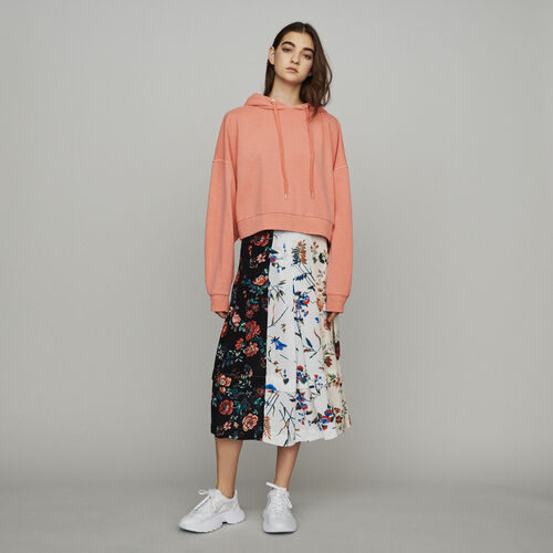 Cropped hooded sweatshirt : Summerparty-Tout_voir-IT color Coral