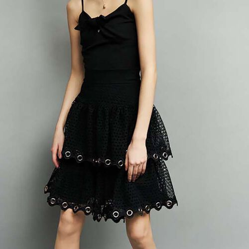 Skirt with eyelet and mesh : Skirts & Shorts color Black 210