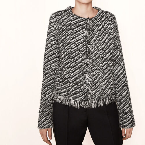 Decorative knit cardigan : Sweaters & Cardigans color BLACK
