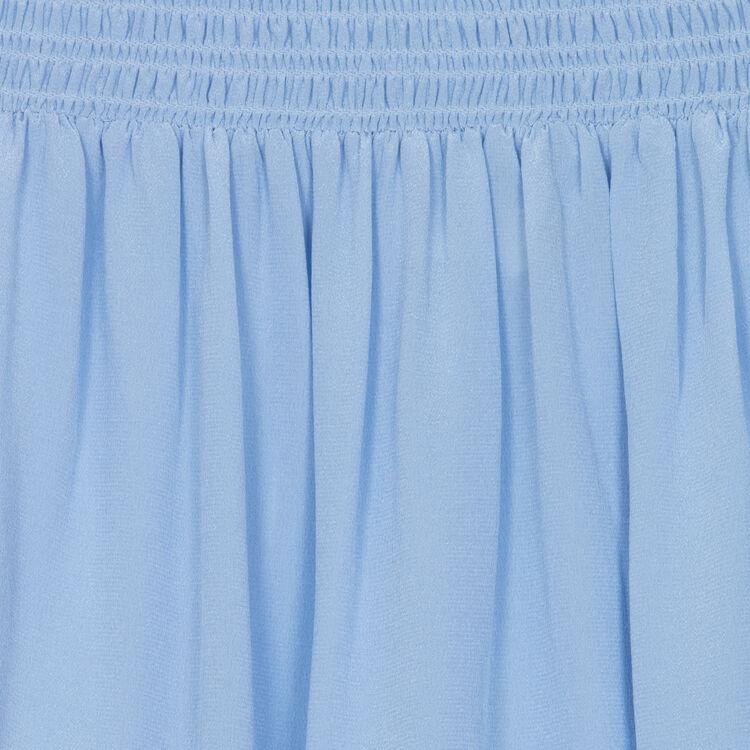 Silk cold-shoulder top : Tops color Denim