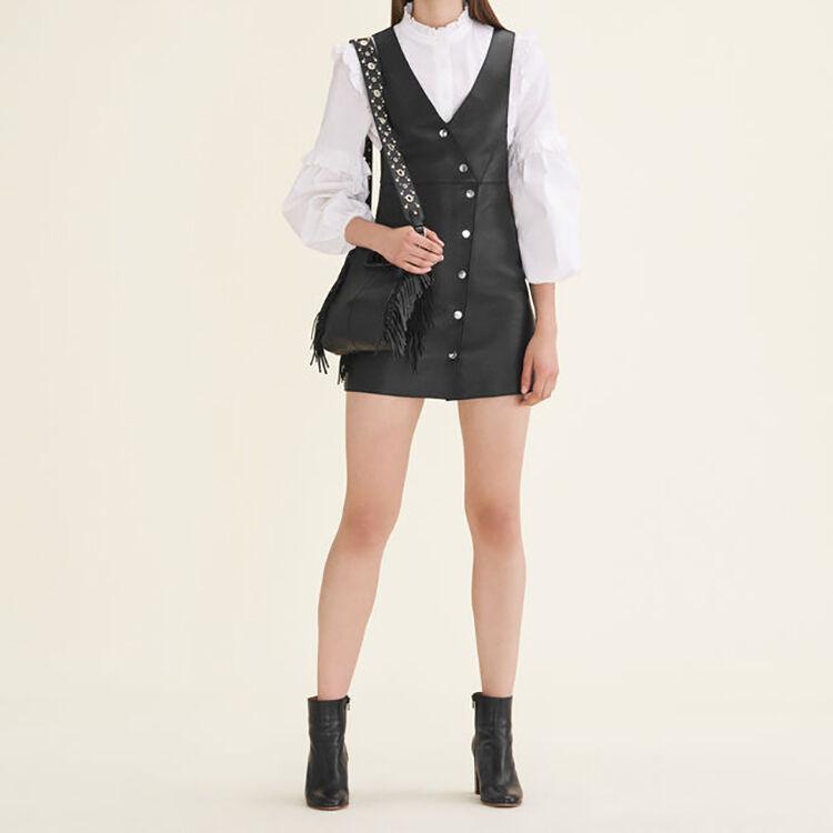Leather studded shoulder strap bag : Accessoires color Black 210