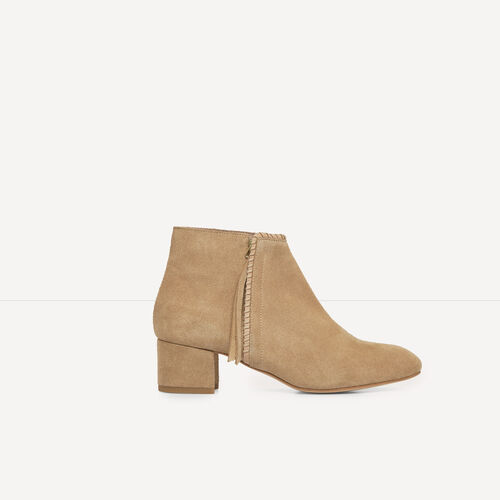 Suede ankle boots with laced detail : Accessories color Camel