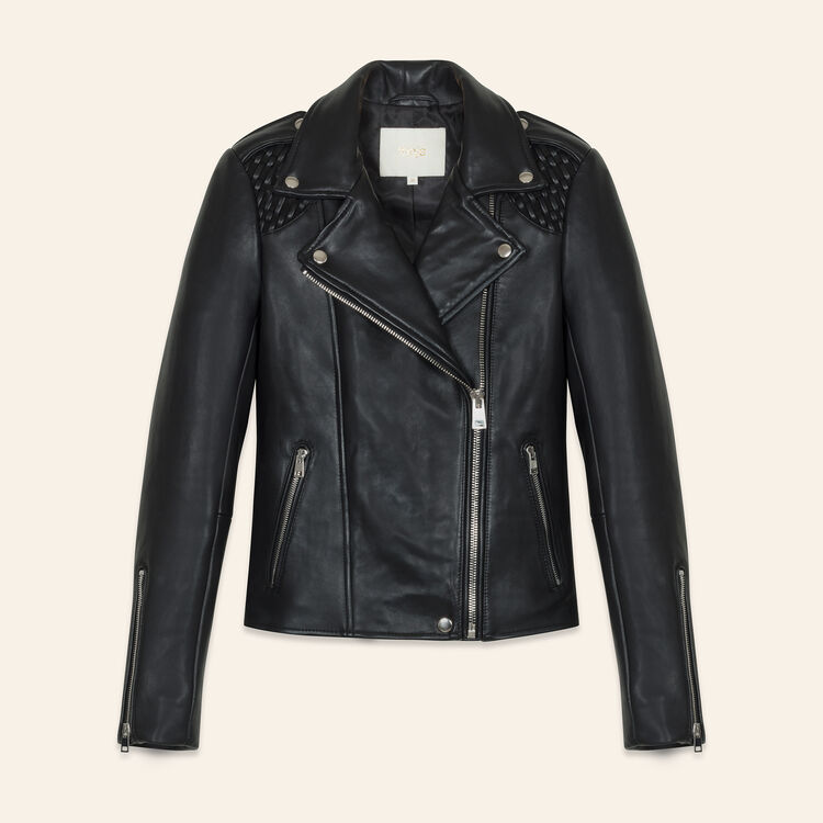 Leather jacket with woven detailing : Jackets & Blazers color Black 210