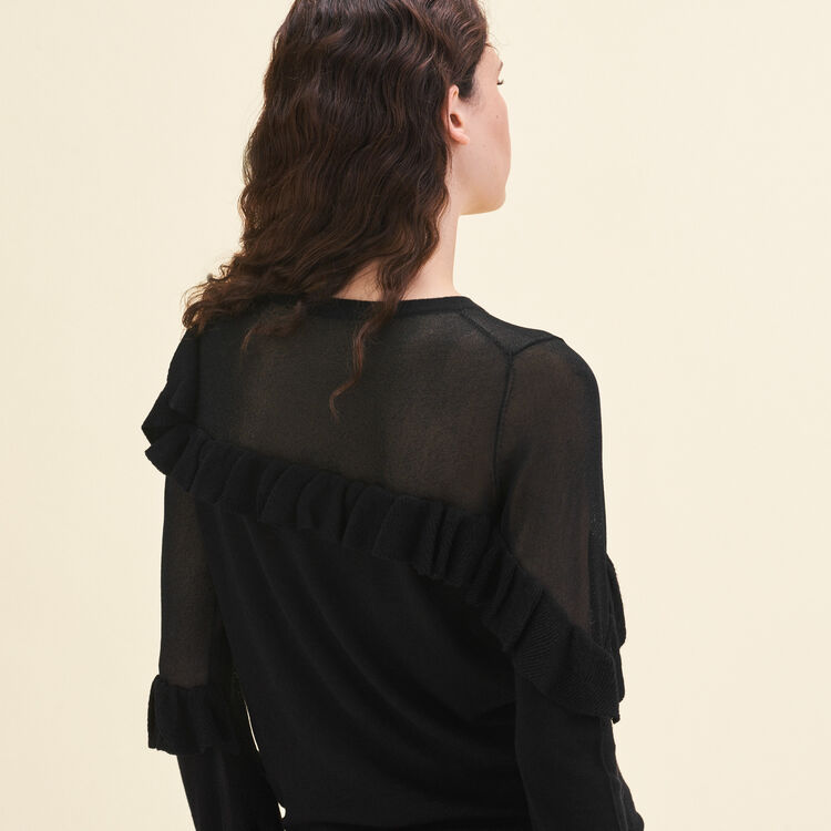 Fine jumper with frills : Sweaters & Cardigans color Black 210