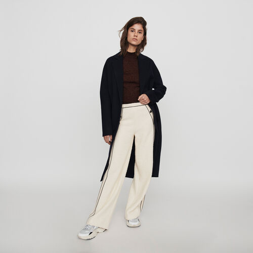 Tweed-style contrast wide-leg pants : Winter collection color Ecru