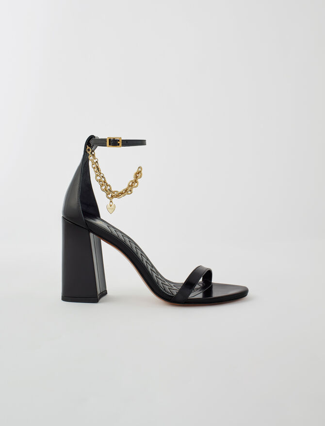 High heel sandals with gold-tone chain - New collection - MAJE