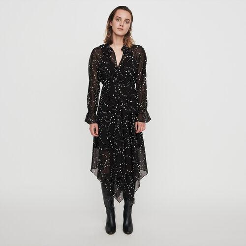 Printed-muslin scarf dress : Dresses color Black