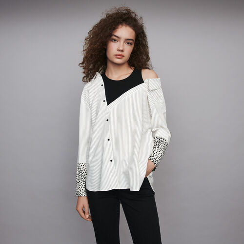 Striped trompe l'oeil top : Winter collection color White / Black