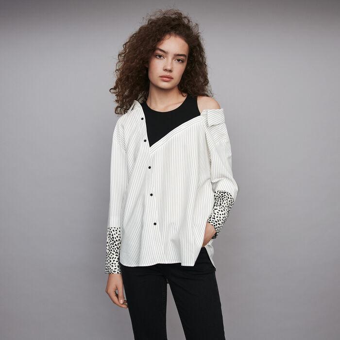 Striped trompe l'oeil top : Tops & Shirts color White / Black