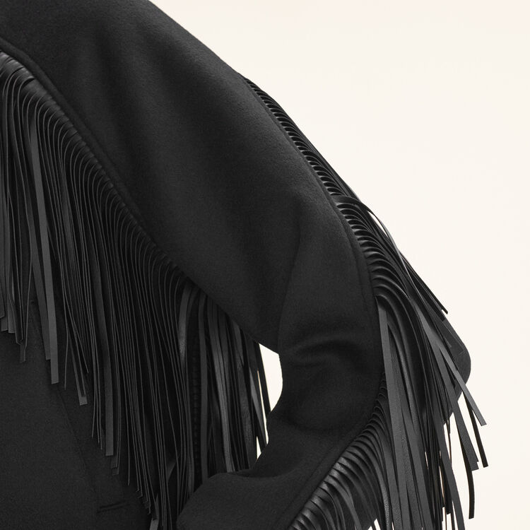 Bomber style jacket with fringing : Jackets & Blazers color Black 210