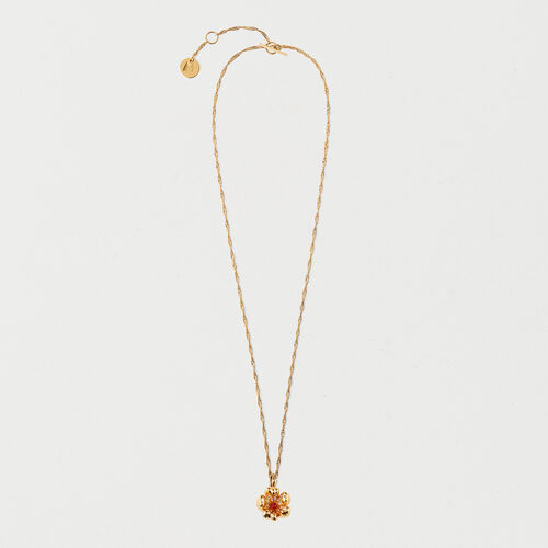 Red flower necklace : Jewelry color GOLD