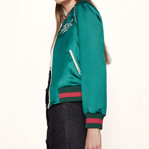 Varsity-style satin jacket : Blazers & Jackets color Green