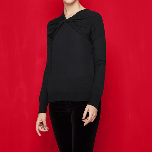 Fine knit jumper with knot detail : Sweaters & Cardigans color Black 210