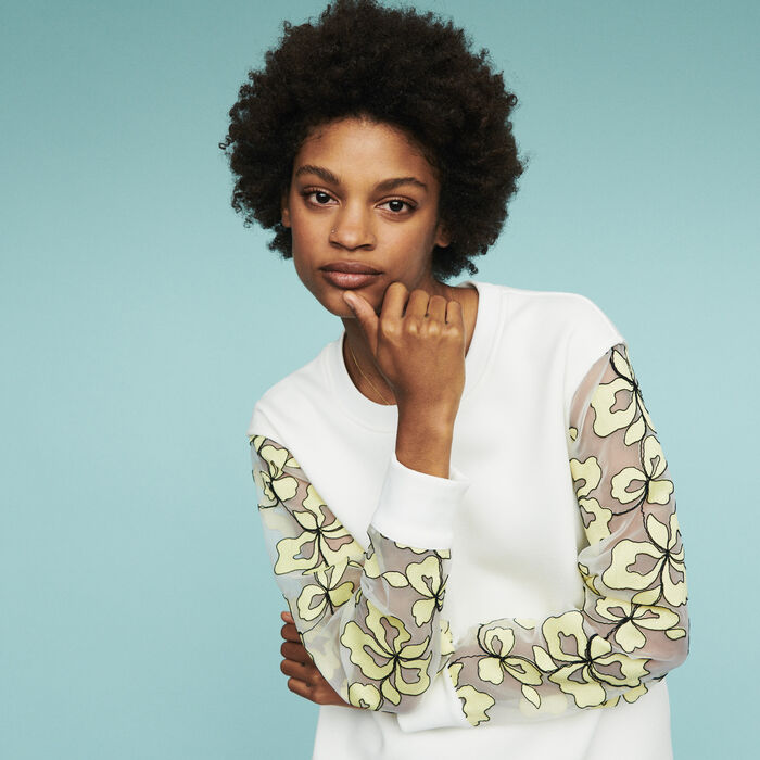 Sweatshirt with organza details : Pullovers & Cardigans color WHITE