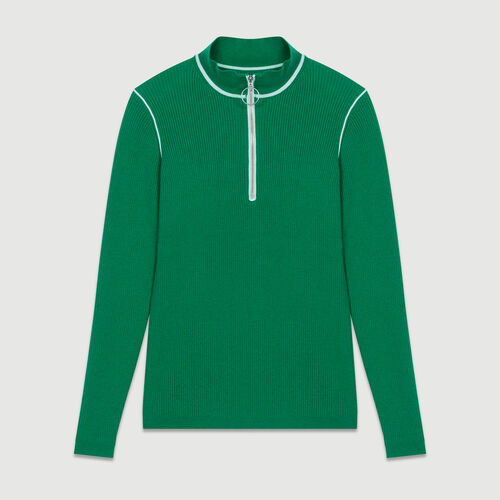 Trucker-collared sweater in fine knit : Knitwear color Green