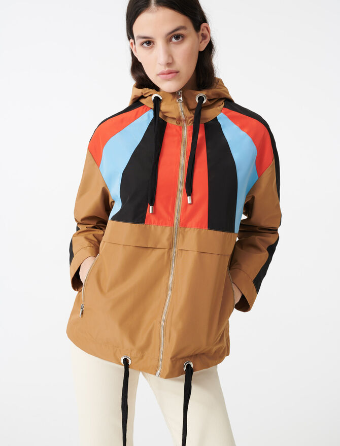 Multicoloured hooded windbreaker - Coats & Jackets - MAJE