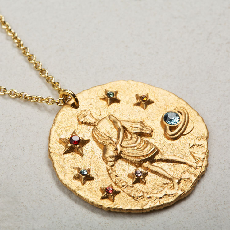 Aquarian zodiac sign necklace : Medallions color GOLD