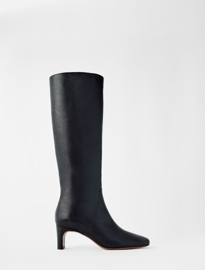 Leather mid heel boots - Booties & Boots - MAJE