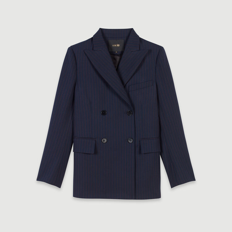 Racing-striped double breasted jacket : Winter collection color Navy