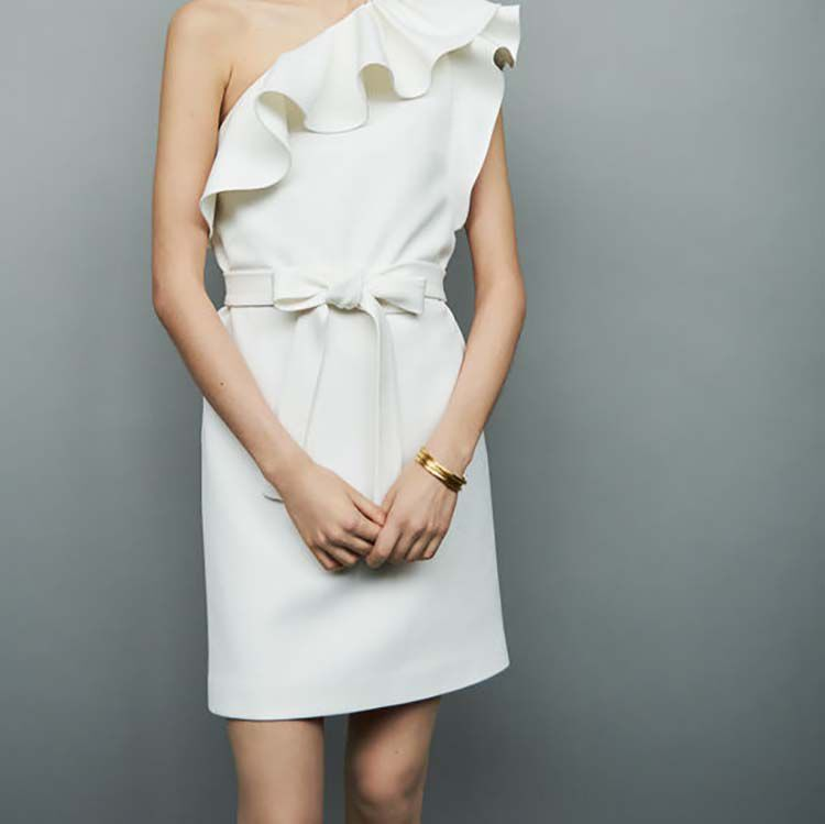 Short dress with asymmetric shoulders : Dresses color White