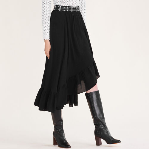 Asymmetric frilled skirt : Skirts & Shorts color Black 210
