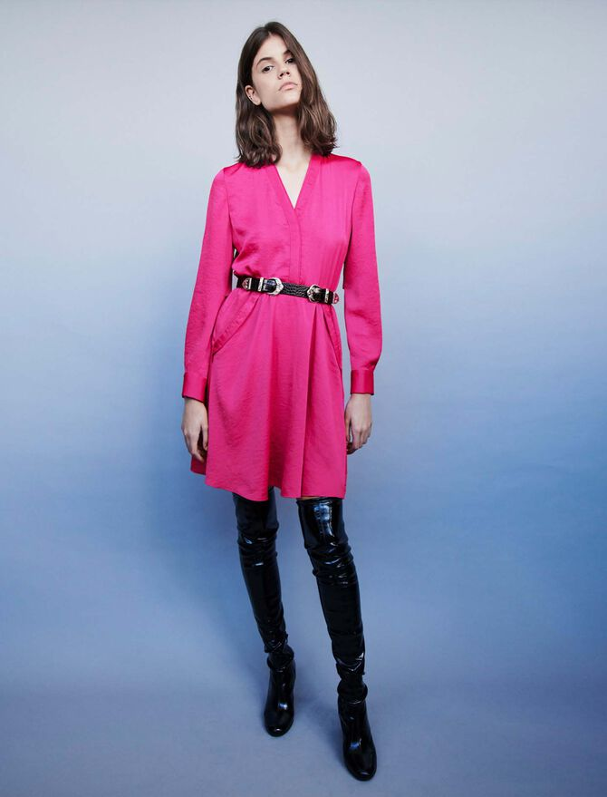Satin dress with elasticated waistline -  - MAJE