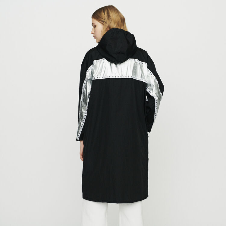 Long parka with inlaid bands : Coats & Jackets color Black 210