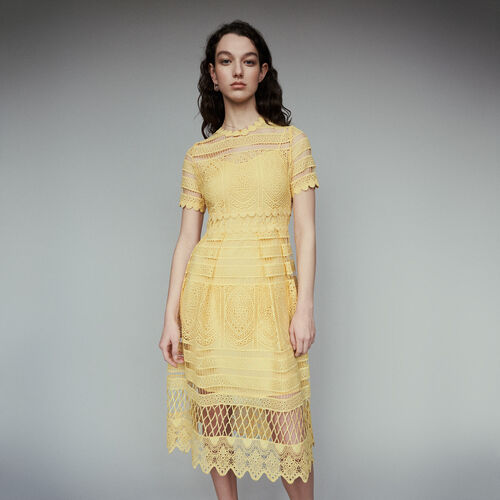 3f920588905 Dresses true Long dress in guipure   Dresses color Yellow