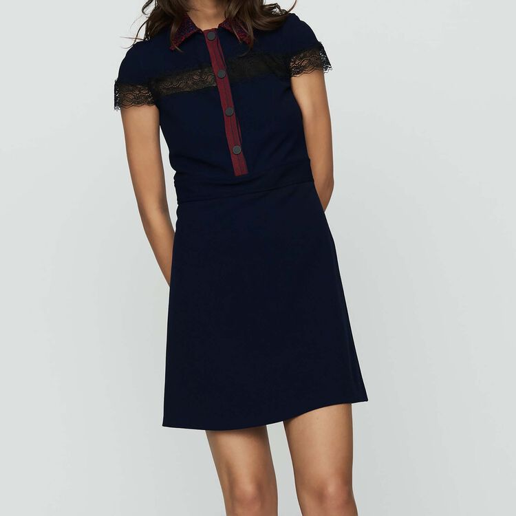 Shirt dress in crepe and lace : Tartan color Navy