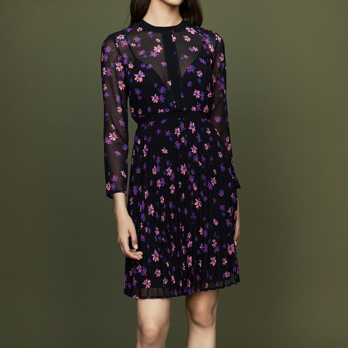 Printed dress with pleated skirt : Dresses color PRINTED