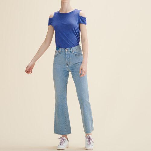 Linen off-the-shoulder T-shirt : T-shirts color Blue