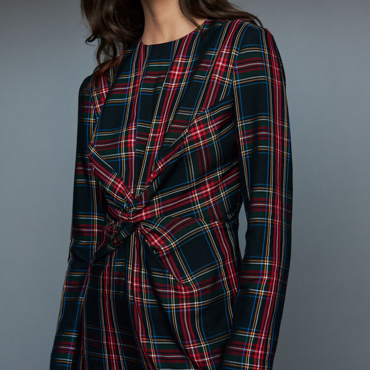 Draped plaid dress : Tartan color CARREAUX