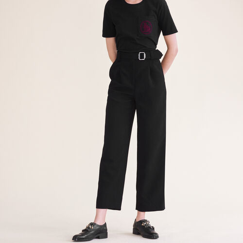 Wide leg trousers with belt : Trousers color Black 210