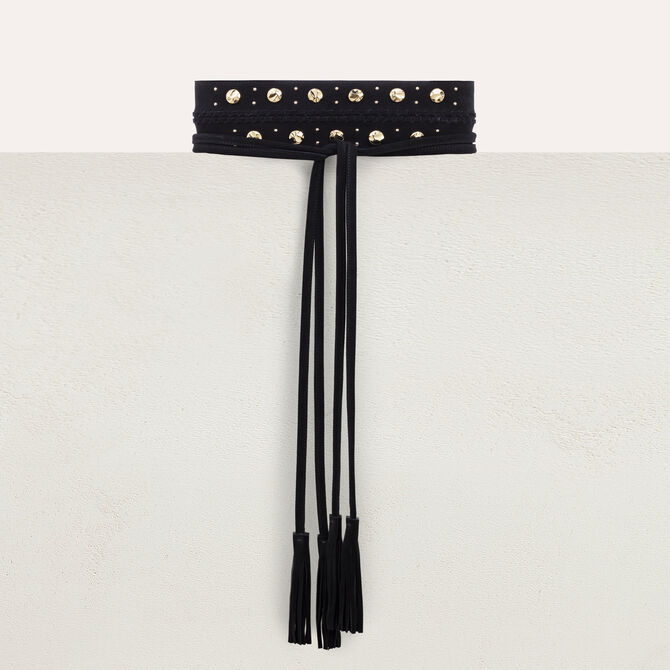 High-waisted suede belt with studs - See all - MAJE