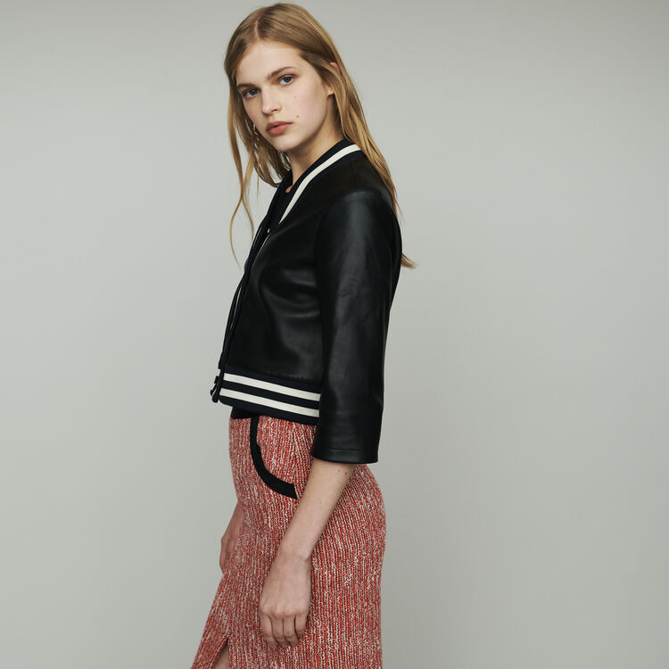 Leather jacket with stripes : Coats & Jackets color Black