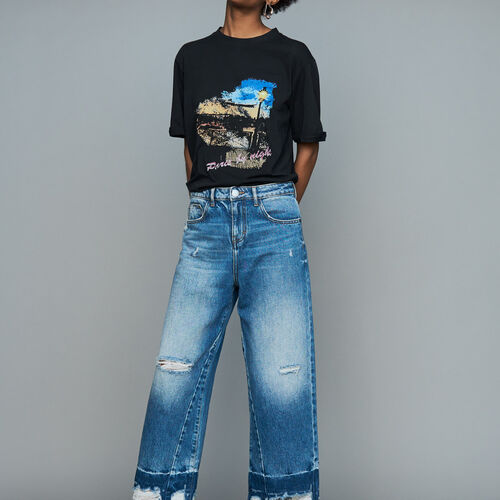 Wide jeans with distressed detailing : Jeans color Blue