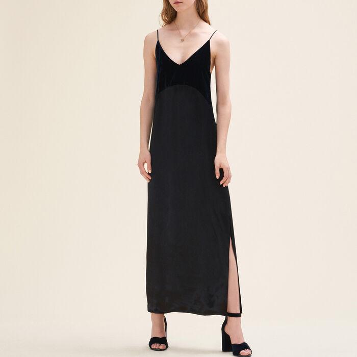 Long dual-material dress : Dresses color Navy