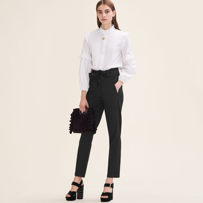 Carrot trousers with bow : Shop by color Black 210