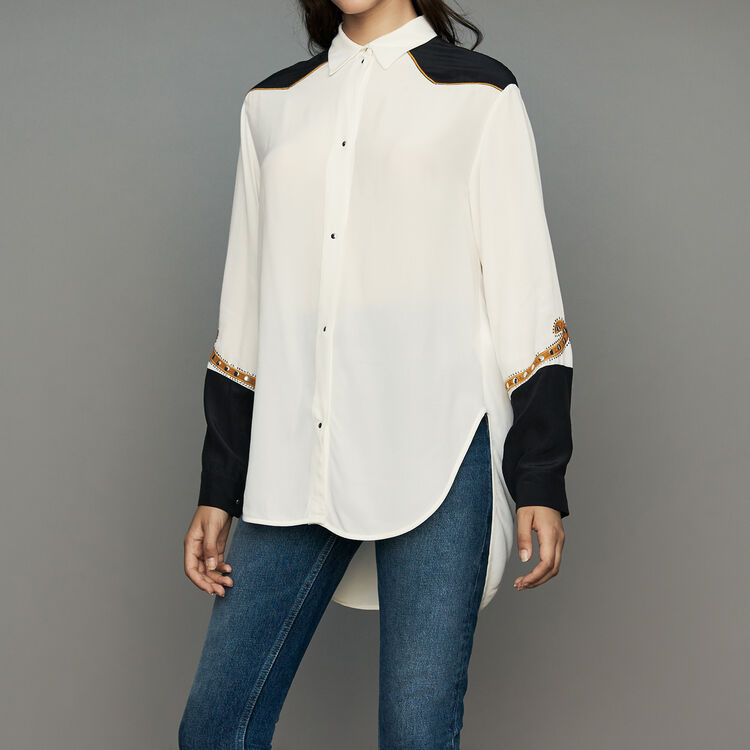 Long western blouse : Shirts color Ecru