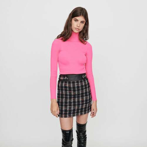Light ribbed turtleneck sweater : Winter collection color Fluorescent Pink