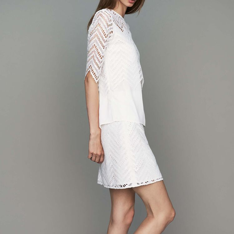 Top in crepe and lace : Tops color White