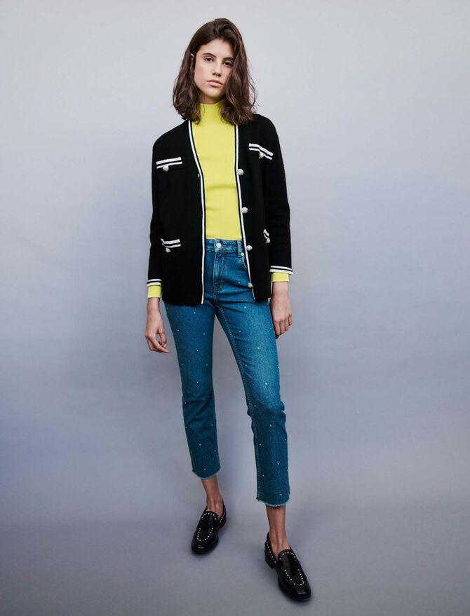 Jeweled contrast cardigan - Pullovers & Cardigans - MAJE
