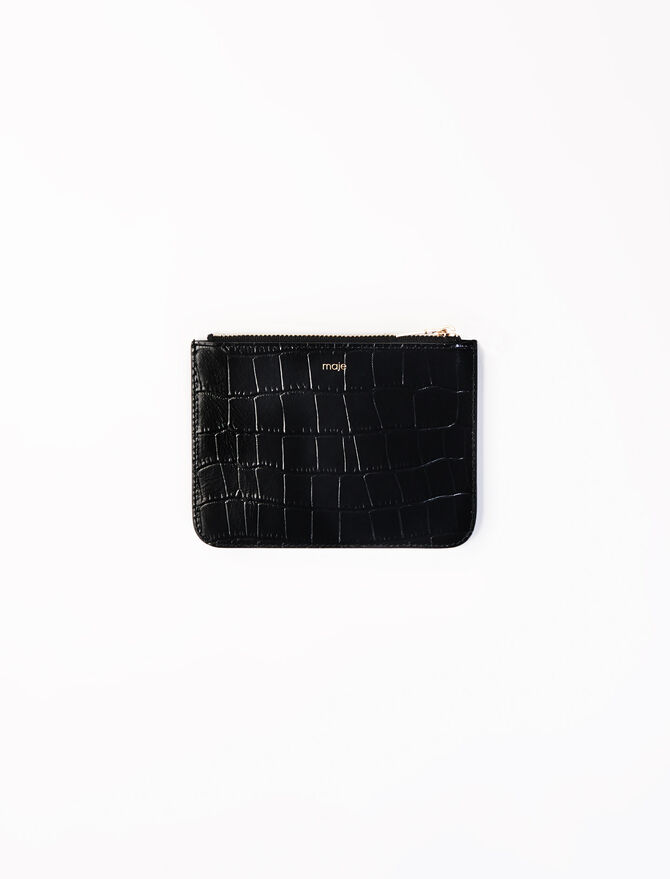 Zipped embossed-leather pouch -  - MAJE