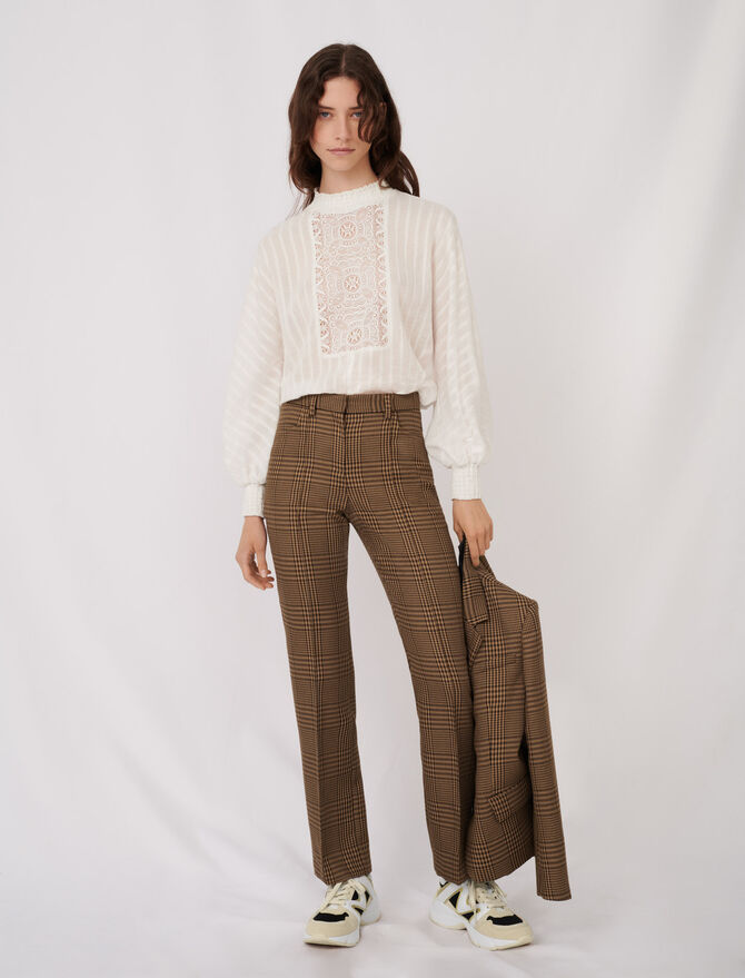 Straight cut checked trousers - Trousers & Jeans - MAJE