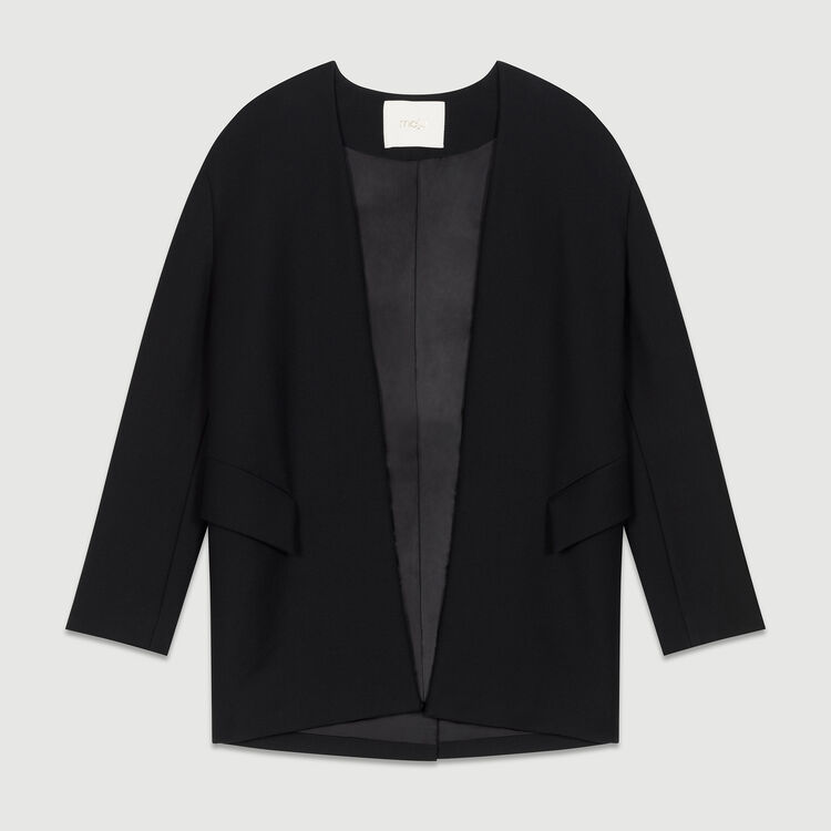 Collarless cotton blend dress jacket : Blazers color Black 210